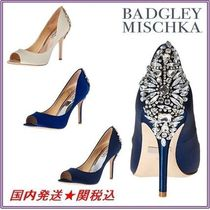 Badgley Mischka Open Toe Plain With Jewels Elegant Style
