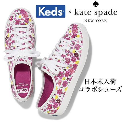 Flower Patterns Rubber Sole Casual Style Collaboration