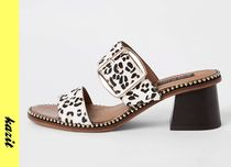 River Island Leopard Patterns Casual Style Block Heels Sandals