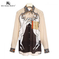 Burberry Other Check Patterns Silk Elegant Style Shirts & Blouses