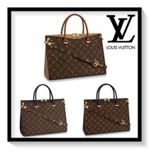 Louis Vuitton PALLAS Monogram Canvas Blended Fabrics 2WAY Elegant Style Handbags