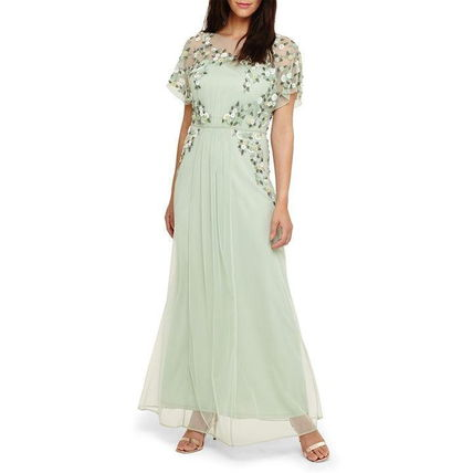 Crew Neck Flower Patterns Maxi Chiffon Long Short Sleeves