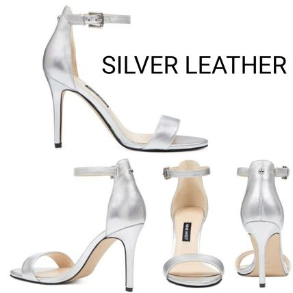 Open Toe Plain Leather Pin Heels Heeled Sandals