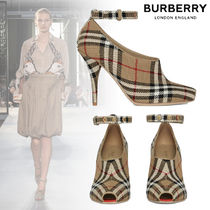 Burberry Other Check Patterns Open Toe Leather Peep Toe Pumps & Mules
