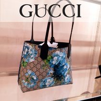 GUCCI GG Supreme Flower Patterns Blended Fabrics Leather Handbags