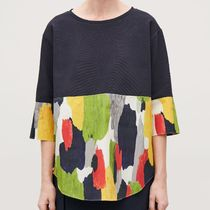 COS Crew Neck Casual Style Cropped Plain Cotton Medium Tops