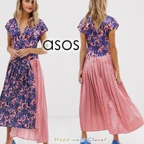 ASOS Flower Patterns Dots Casual Style Flared V-Neck Long