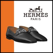 HERMES Square Toe Plain Leather Loafer Pumps & Mules