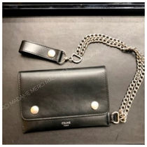 CELINE Calfskin Chain Folding Wallet Logo Folding Wallets