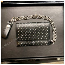 CELINE Calfskin Chain Logo Folding Wallets