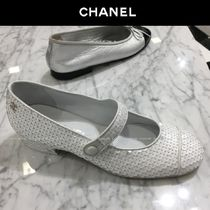 CHANEL Blended Fabrics Plain With Jewels Ballet Shoes