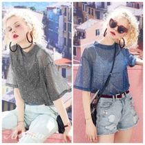 ELF SACK Crew Neck Street Style Plain Short Sleeves With Jewels