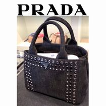 PRADA CANAPA Canvas Studded 2WAY Elegant Style Handbags