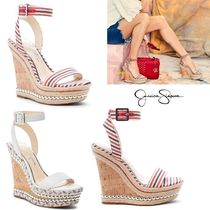 Jessica Simpson Stripes Open Toe Studded Leather Platform & Wedge Sandals