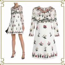 VALENTINO Short Flower Patterns A-line Wool Long Sleeves Elegant Style