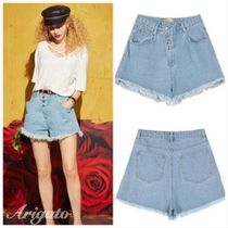 ELF SACK Short Casual Style Denim Street Style Plain Fringes