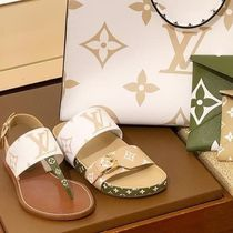 Louis Vuitton MONOGRAM Open Toe Blended Fabrics Bi-color Plain Elegant Style