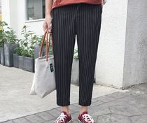 Tapered Pants Stripes Street Style Oversized Tapered Pants