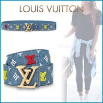 Louis Vuitton Blended Fabrics Bi-color Leather Elegant Style Belts