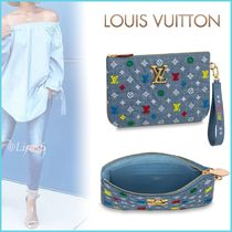 Louis Vuitton Blended Fabrics Bag in Bag 2WAY Plain Elegant Style Clutches