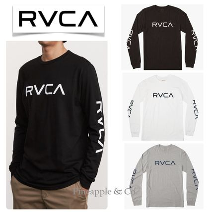 RVCA Long Sleeve Crew Neck Unisex Street Style Long Sleeves Plain Cotton