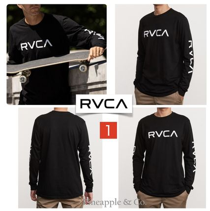 RVCA Long Sleeve Crew Neck Unisex Street Style Long Sleeves Plain Cotton 3