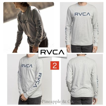 RVCA Long Sleeve Crew Neck Unisex Street Style Long Sleeves Plain Cotton 4