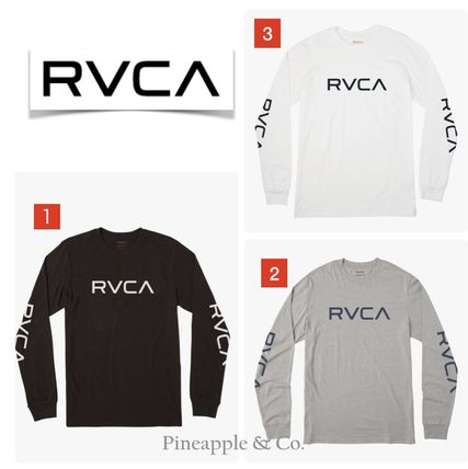 RVCA Long Sleeve Crew Neck Unisex Street Style Long Sleeves Plain Cotton 6