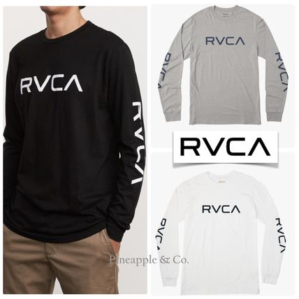 RVCA Long Sleeve Crew Neck Unisex Street Style Long Sleeves Plain Cotton 2