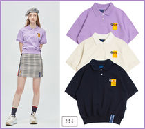 ROMANTIC CROWN Casual Style Street Style Plain Short Sleeves Polo Shirts