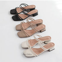 Open Toe Casual Style Plain Chunky Heels Sandals