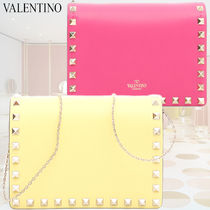 VALENTINO Casual Style Studded 2WAY Chain Plain Leather Shoulder Bags