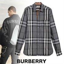 Burberry Tartan Street Style Long Sleeves Cotton Shirts