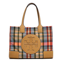 Tory Burch ELLA TOTE Gingham Casual Style Nylon Totes