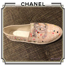CHANEL Round Toe Casual Style Blended Fabrics PVC Clothing Flats