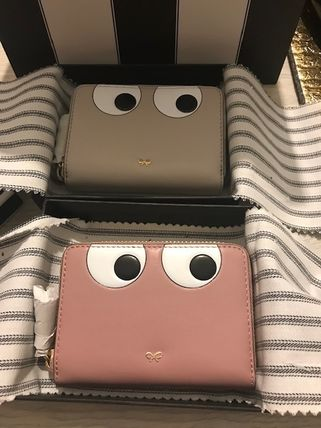 Anya Hindmarch Bi-color Leather Long Wallet  Small Wallet Logo Accessories