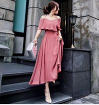 Chiffon Flared Plain Long Party Style Dresses