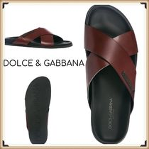 Dolce & Gabbana Plain Leather Shower Shoes Shower Sandals