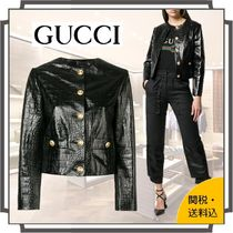 GUCCI Short Blended Fabrics Plain Other Animal Patterns Leather