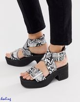 ASOS Open Toe Platform Casual Style Other Animal Patterns Leather