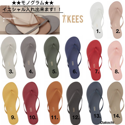 Rubber Sole Casual Style Leather Flip Flops Flat Sandals