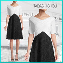 TADASHI SHOJI Flower Patterns A-line Bi-color Medium Party Style Lace