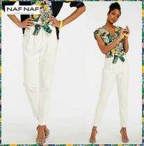 NAF NAF Plain Cotton Long Elegant Style Cropped & Capris Pants