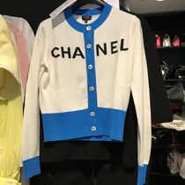 CHANEL ICON Cashmere Long Sleeves Plain Medium Cashmere