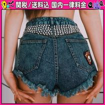 DOLLS KILL Short Studded Cotton Denim & Cotton Shorts