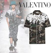 VALENTINO Camouflage Street Style Cotton Short Sleeves Shirts