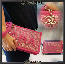 CHANEL ICON Bi-color Chain PVC Clothing Pouches & Cosmetic Bags