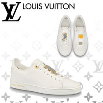 Louis Vuitton Round Toe Rubber Sole Lace-up Casual Style Blended Fabrics