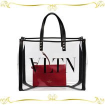 VALENTINO Plain Leather Crystal Clear Bags Totes
