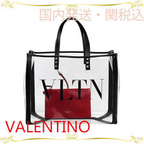 VALENTINO Casual Style Plain Crystal Clear Bags PVC Clothing Totes